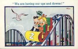 Seaside Roller Coaster Vintage Comic Postcard refB1Vintage Postcard. An original postcard in very good condition for its age. Marks on the back. Please see large photos and description for details. refB2