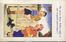 FIDO the black dog BACKPACKER BUS STOP Vintage Comic Postcard refB1Vintage Postcard. An original postcard in poor condition. Marks