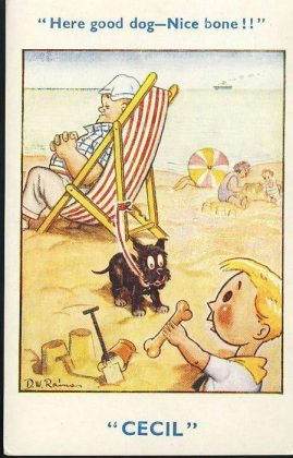 CECIL D.W.Rains dog & bone Deckchair Seaside Vintage Comic Postcard refB1Vintage Postcard. An original postcard in very good condition for its age. Please see large photos and description for details. refB2