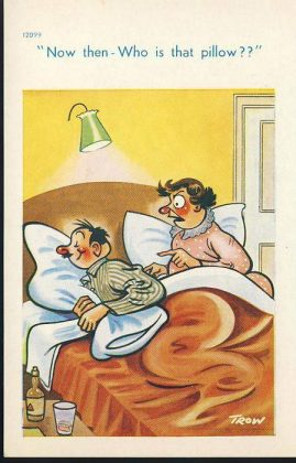 Bedtime Humour drunk man & wife Vintage Comic Postcard refB1Vintage Postcard. An original postcard in very good condition for its age. Please see large photos and description for details. refB2