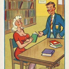 LIBRARY man with woman reading Vintage Comic Postcard refB1Vintage Postcard. An original postcard in very good condition for its age. Please see large photos and description for details. refB2