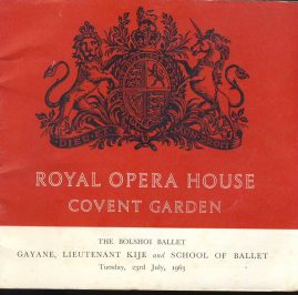 1963 The Bolshoi Ballet Royal Opera House Covent Garden theatre programme. Great vintage adverts. Clean inside. Good used condition with some marks and creases on cover.  This is a vintage Theatre programme. Please read full description and see large photo. C456