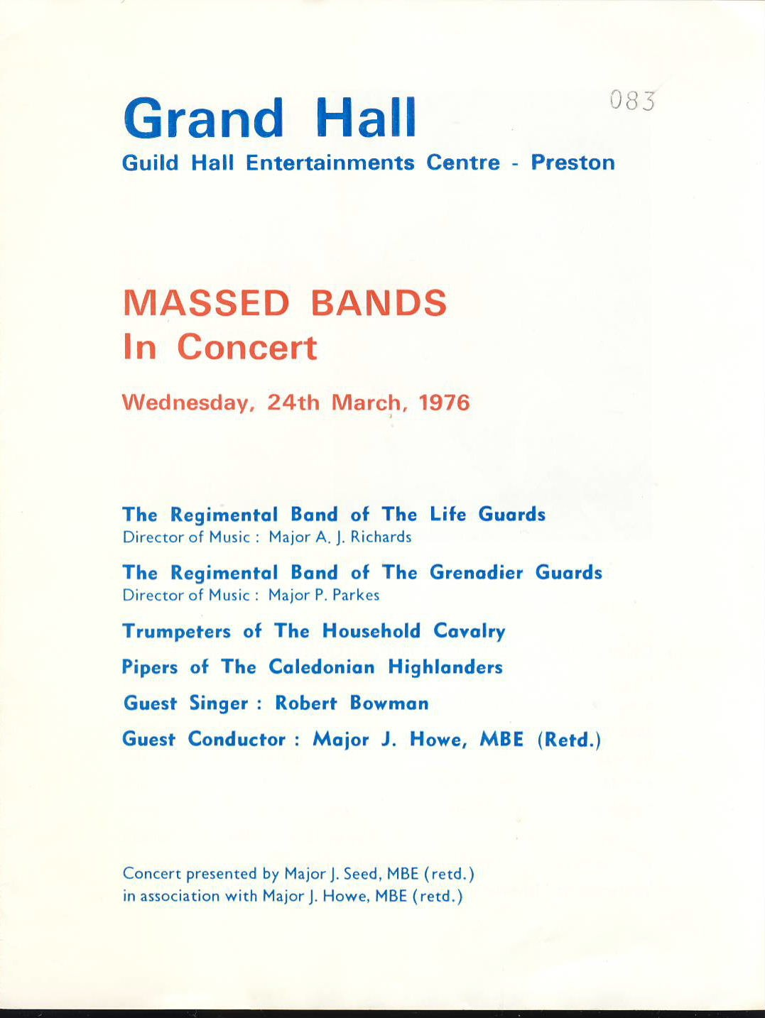 1976 Massed Bands in Concert Guild Hall Preston Programme of Music. Good used condition with some creases.  This vintage Theatre programme measures approx 18.5cm x 24cm. Please read full description and see large photo. C439