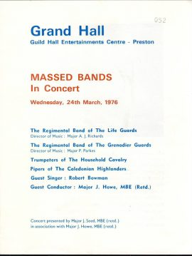 1976 Massed Bands in Concert Guild Hall Preston Programme of Music. Good used condition with some handling marks and creases.  This vintage Theatre programme measures approx 18.5cm x 24cm. Please read full description and see large photo. C446