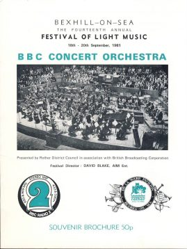 1981 BBC Concert Orchestra Bexhill-on-Sea 10 page Souvenir Brochure . Good used condition with some handling creases.  This vintage Theatre programme measures approx 18cm x 24cm. Please read full description and see large photo. C441