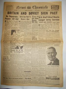 News Chronicle July 14th 1941 4 page reproduction newspaper history teaching research projects materials RefS4 This is a pre-owned paper in good condition. Ideal for projects and research. Please see full description and photo.