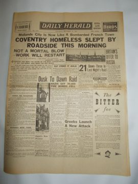 Daily Herald November 16th 1940 4 page reproduction newspaper history teaching research projects materials RefS4 This is a pre-owned paper in good condition. Ideal for projects and research. Please see full description and photo.