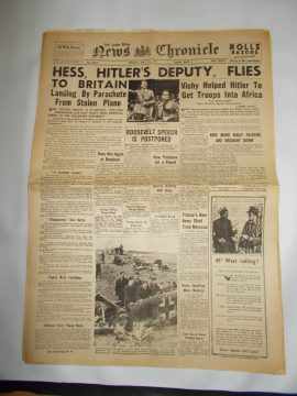 News Chronicle May 13 1940 4 page reproduction newspaper history teaching research projects materials RefS4 This is a pre-owned paper in good condition. Ideal for projects and research. Please see full description and photo.