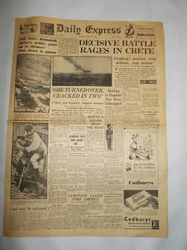 Daily Express May 31st 1941 4 page reproduction newspaper history teaching research projects materials RefS4 This is a pre-owned paper in good condition. Ideal for projects and research. Please see full description and photo.