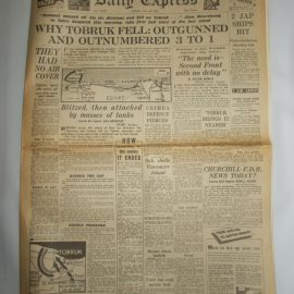 Daily Express June 22nd 1942 4 page reproduction newspaper with poster history teaching research projects materials RefS4 This is a pre-owned paper in good condition. Ideal for projects and research. Please see full description and photo.