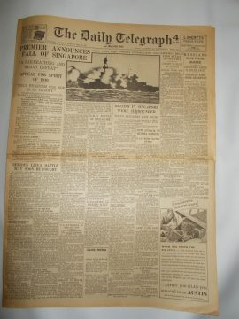 The Daily Telegraph February 16th 1942 6 page reproduction newspaper history teaching research projects materials RefS4 This is a pre-owned paper in good condition. Ideal for projects and research. Please see full description and photo.