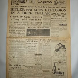 Daily Express November 9th 1939 12 page reproduction newspaper history teaching research projects materials RefS4 This is a pre-owned paper in good condition. Ideal for projects and research. Please see full description and photo.