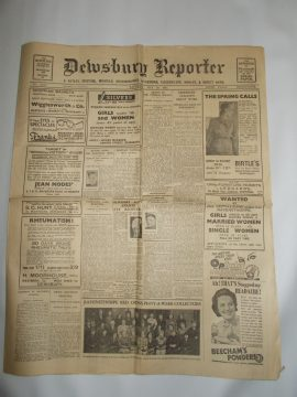Dewsbury Reporter May 20th 1943 8 page newspaper history teaching research projects materials RefS4 This is a pre-owned paper in good condition. Ideal for projects and research. Please see full description and photo.