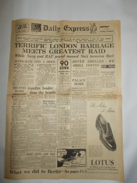 Daily Express September 12th 1940 6 page reproduction newspaper history teaching research projects materials RefS4 This is a pre-owned paper in good condition. Ideal for projects and research. Please see full description and photo.