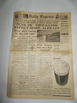 Daily Express May 31st 1940 8 page reproduction newspaper history teaching research projects materials RefS4 This is a pre-owned paper in good condition. Ideal for projects and research. Please see full description and photo.