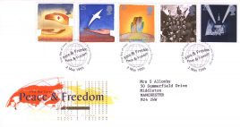 1995-05-02 Peace and Freedom FDC Bureau fdi Royal Mail First Day Cover with insert card refA7