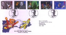 1996-09-03 Childrens TV FDC Royal Mail Big Stars from the Small Screen Bureau fdi with insert card refA20