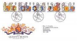 1998-02-24 The Queens Beasts Royal Mail FDC Bureau fdi with insert card refA33