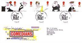 1998-04-23 Comedians ha ha ha! Royal Mail FDC Bureau fdi with insert card refA35