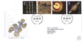 1999-08-03 Scientists Tale Royal Mail Millennium FDC Bureau fdi with insert card refA48