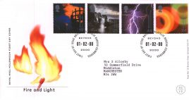 2000 Fire and Light Royal Mail Millennium First Day Cover Bureau fdi with insert card  Typed Address refA54
