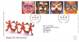2001-01-16 Hopes for the Furture Royal Mail FDC with insert card Bureau fdi refA67