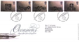 2001-02-06 Greetings Stamps Occasions Royal Mail FDC with insert card Bureau fdi refA68
