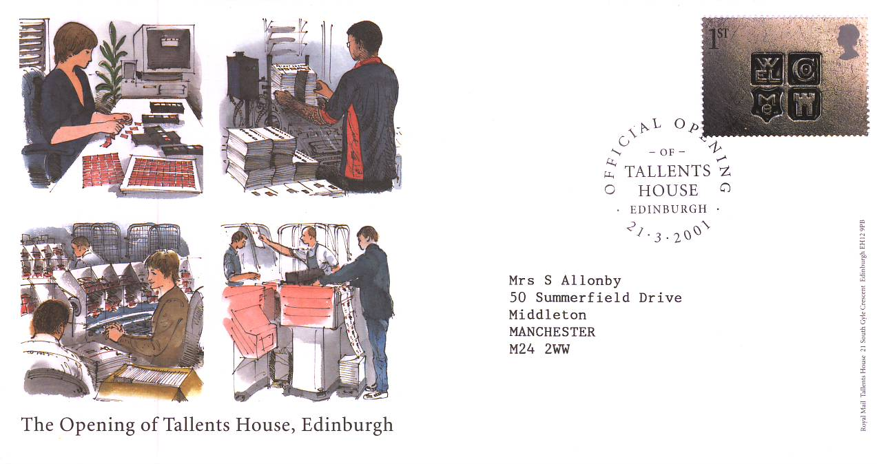 2001-03-21 Official Opening Tallents House Edinburgh Cover - no insert card refA69