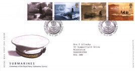 2001-04-10 Royal Navy Submarines Royal Mail FDC with insert card. Bureau fdi refA70
