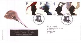 2001-06-19 Fabulous Fashion Hats Royal Mail FDC with insert card. Tallents House fdi refA71