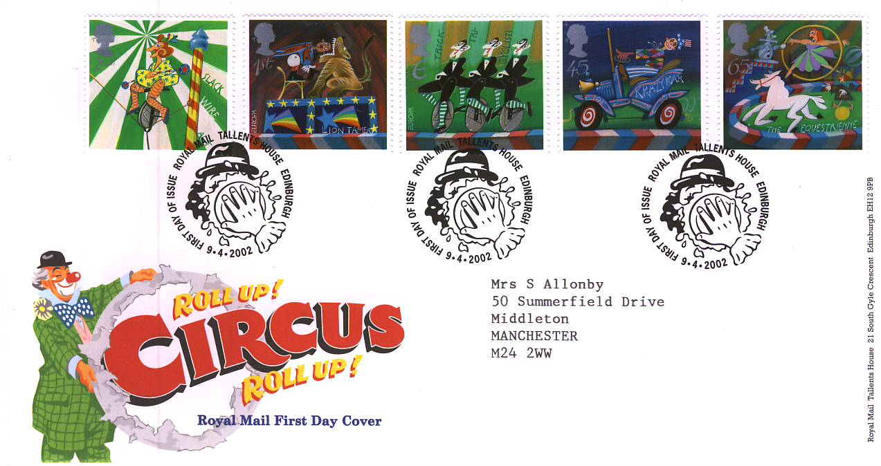 2002-04-09 Roll Up Roll Up Circus Royal Mail FDC Tallents House fdi with insert card refA76