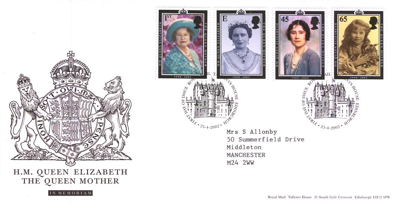 2002-04-25 HM Queen Elizabeth The Queen Mother in Memorium Royal Mail FDC refA77