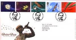 2002-08-20 Peter Pan Royal Mail FDC Tallents House fdi with insert card refA79