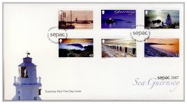 2007 Guernsey Post FDC sepac Sea Guernsey Lighthouse first day cover. Very Good condition with insert card. Please see larger photo for details.