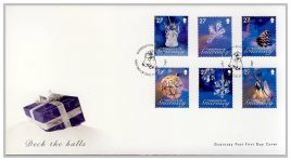 2007 Bailiwick of Guernsey Post FDC Christmas Deck the Halls 27x6 stamps first day cover. Very Good condition with insert card. Please see larger photo for details.