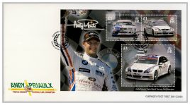 2008 Guernsey Post FDC Andy Priaulx Triple World Touring Car Champion Minisheet First Day Cover. Very Good condition with insert card. Please see larger photo for details.