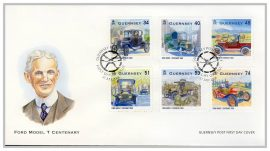 2008 Ford Model T Centenary Guernsey Post FDC cars stamps first day cover. Very Good condition with insert card. Please see larger photo for details.