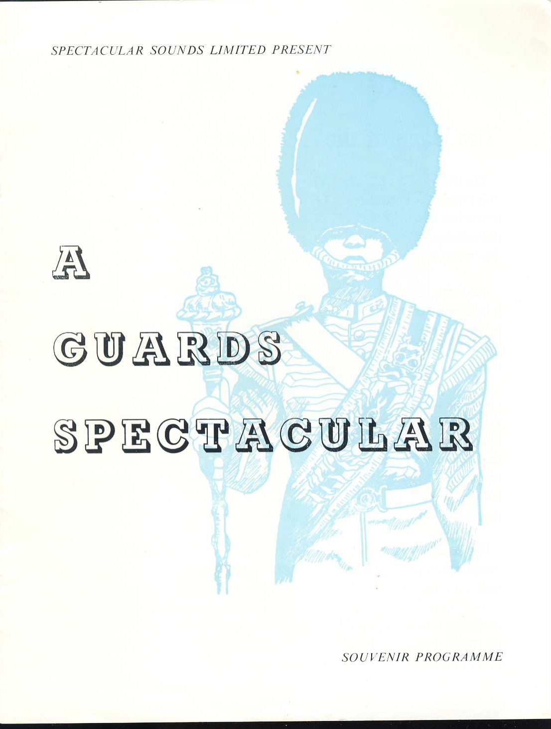 A Guards Spectacular music Souvenir ProgrammeColdstream Life Grenadier Guards - undated. Good used condition with some marks and scuffs on corners.  This vintage Theatre programme measures approx 19cm x 24cm. Please read full description and see large photo. C447
