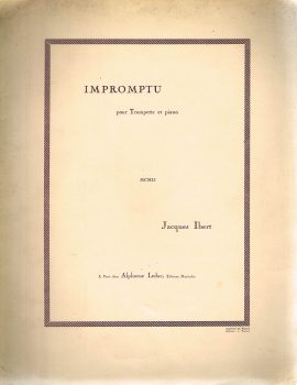IMPROMPTU pour Trompette et piano MCMLI Jacques Ibert  vintage sheet music refS1-3051 Good Condition for age . Please see large photo and read full description.