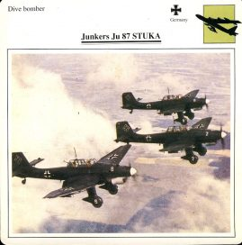 Junkers Ju 87 STUKA Dive bomber Germany Military Aircraft Collectors Card refP6 This vintage collectors card is in Very Good Condition for age. Please read the full description and see photo.