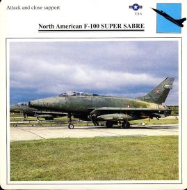 North Amercian F-100 SUPER SABRE attack and close support USA Military Aircraft Collectors Card refP6 This vintage collectors card is in Very Good Condition for age. Please read the full description and see photo.