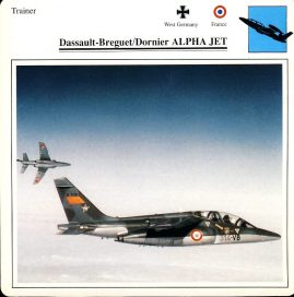 Dassault-Breguet Dornier ALPHA JET Trainer West Germany and France Military Aircraft Collectors Card refP6 This vintage collectors card is in Very Good Condition for age. Please read the full description and see photo.