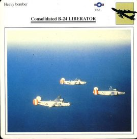 Consolidated B-24 LIBERATOR heavy bomber USA Military Aircraft Collectors Card refP6 This vintage collectors card is in Very Good Condition for age. Please read the full description and see photo.