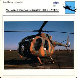 McDonnell Douglas Helicopters OH-6 CAYUSE Land based helicopter USA Military Aircraft Collectors Card refP6 This vintage collectors card is in Very Good Condition for age. Please read the full description and see photo.