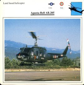 Agusta-Bell AB.205 Land based helicopter USA Italy Military Aircraft Collectors Card refP6 This vintage collectors card is in Very Good Condition for age. Please read the full description and see photo.