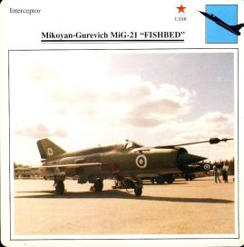 Mikoyan-Gurevick MiG-21 FISHBED Interceptor USSR Military Aircraft Collectors Card refP6 This vintage collectors card is in Very Good Condition for age. Please read the full description and see photo.