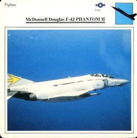 McDonnell Douglas F-4J PHANTOM II fighter USA Military Aircraft Collectors Card refP6 This vintage collectors card is in Very Good Condition for age. Please read the full description and see photo.