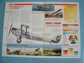 Aircraft of the World VINTAGE VETERAN Card 77 De Havilland DH54 rare biplane