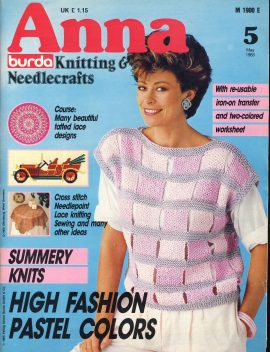 A vintage knitting and needlecrafts magazine produced by burda. Contains patterns & supplements in English. In good condition.
