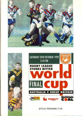 1992 STONE'S BITTER Rugby League programme in good used condition. Please read full description. . Ref89